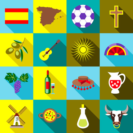 bullfighting: Spain icons set in flat style. Spain travel tourist attractions set collection vector illustration Illustration
