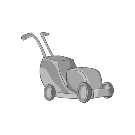 Lawnmower icon in black monochrome style isolated on white background. Garden symbol vector illustration Illustration