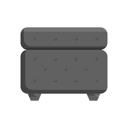 padded: Padded stool icon in black monochrome style isolated on white background. Furniture symbol vector illustration