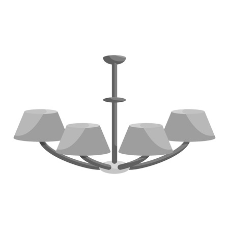 chandelier isolated: Chandelier icon in black monochrome style isolated on white background. Illumination symbol vector illustration