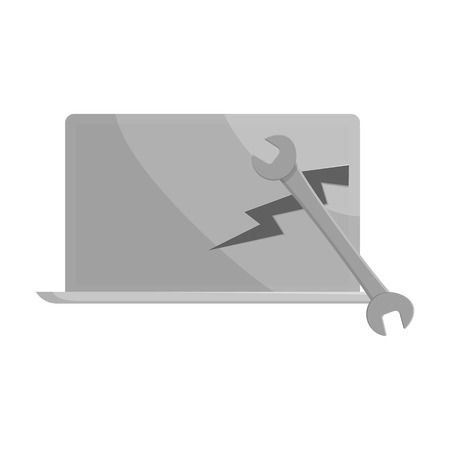laptop repair: Laptop repair icon in black monochrome style isolated on white background. Maintenance symbol vector illustration
