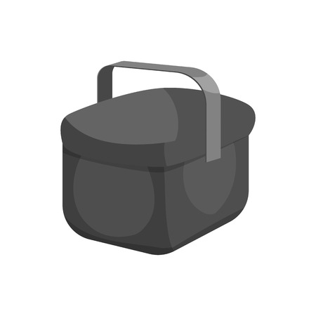 cooler boxes: Cooler bag icon in black monochrome style isolated on white background vector illustration