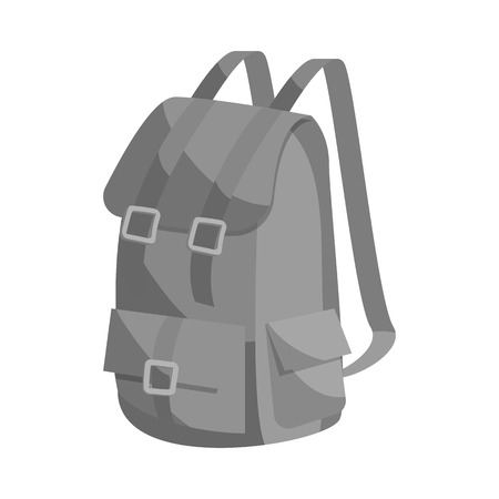 packsack: Hunting backpack icon in black monochrome style isolated on white background vector illustration Illustration