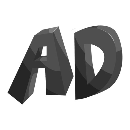 Initial letters ad icon in black monochrome style isolated on white background vector illustration Illustration