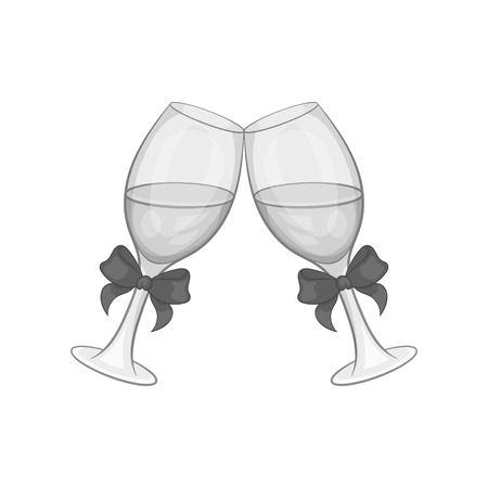 Two glasses of champagne with bow icon in black monochrome style on a white background vector illustration Illustration