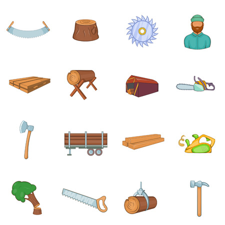 Timber industry icons set in cartoon style. Lumberjack equipment set collection vector illustration