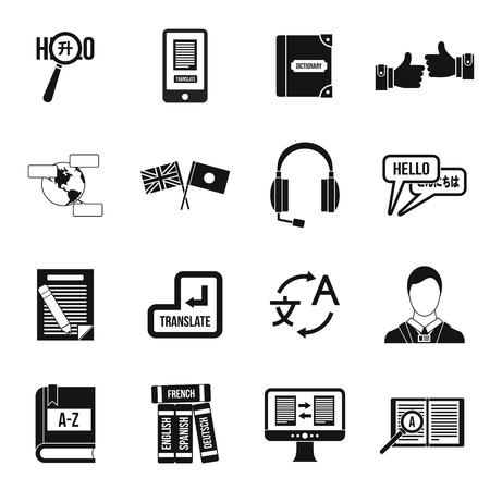 interpreter: Learning foreign languages icons set in simple style. Language interpreter set collection vector illustration