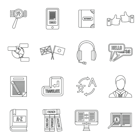 interpreter: Learning foreign languages icons set in outline style. Language interpreter set collection vector illustration Illustration