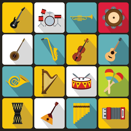 Musical instruments icons set in flat style. Orchestra instruments set collection vector illustration Ilustração