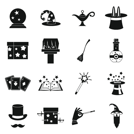 Magic icons set in simple style. Magician tools set collection vector illustration