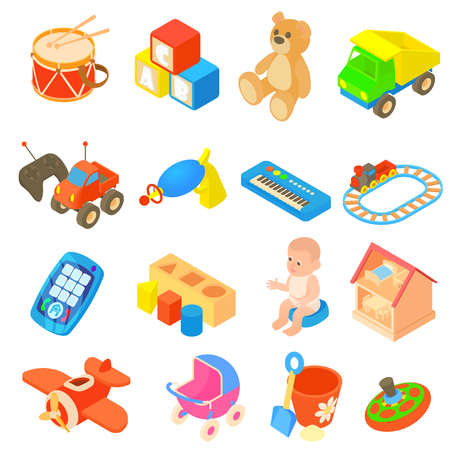 Childrens toys icons set in flat style. Kids games set collection vector illustration