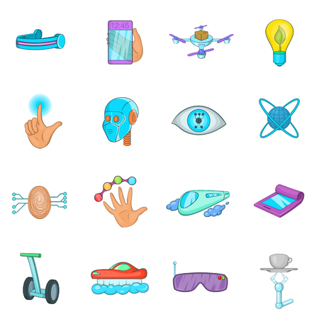 biometrics: New technologies icons set in cartoon style. Innovative app and gadget set collection illustration Illustration