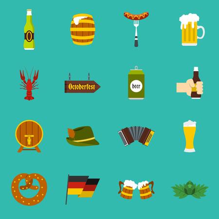 acordeon: Oktoberfest iconos ubicado en el estilo plano sobre un fondo azul bebé. Alemania ilustración vectorial Fest