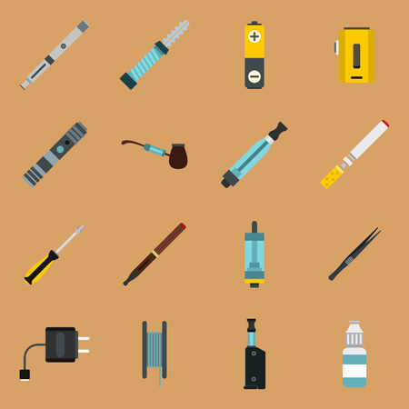 vaporized: Vaping icons set in flat style on a sandy brown background. Electronic cigarette and accessories set collection vector illustration
