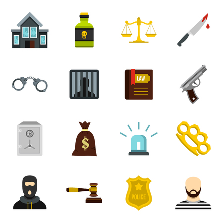 punishment: Crime and punishment icons set in flat style. Law and order set collection vector illustration Illustration