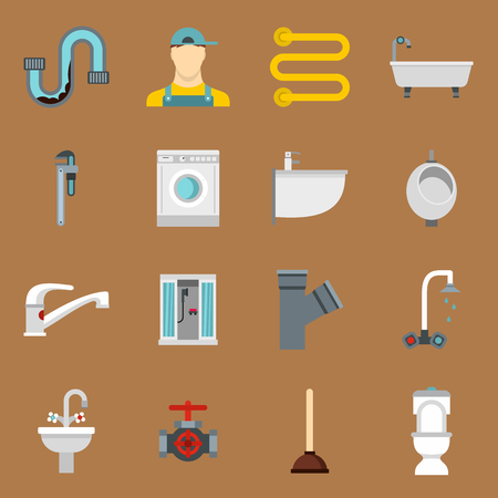 sandy brown: Plumbing icons set in flat style on a sandy brown background. Sanitary equipment set collection vector illustration