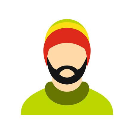 rasta hat: Man wearing rastafarian hat icon in flat style on a white background vector illustration
