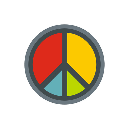 Peace symbol icon in flat style on a white background vector illustration Illustration