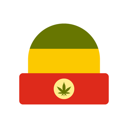 jamaican man: Hat in rastafarian colors icon in flat style on a white background vector illustration