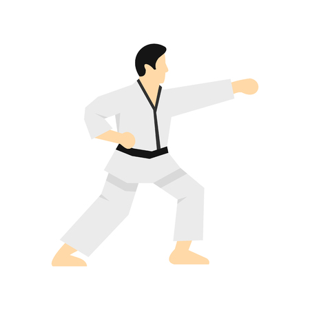 Karate fighter icon in flat style on a white background vector illustration