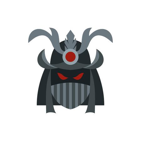 daimyo: Japanese samurai mask icon in flat style on a white background vector illustration Illustration