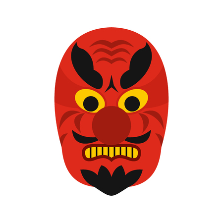 noh: Hannya mask icon in flat style on a white background vector illustration Illustration
