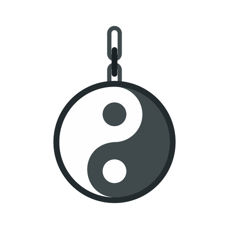 yang style: Yin yang amulet icon in flat style on a white background vector illustration