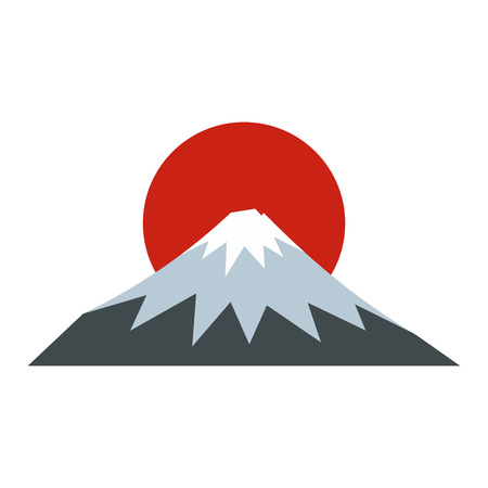 The sacred mountain of Fuji, Japan icon in flat style on a white background vector illustration