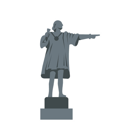 christopher: Christopher Columbus Statue icon in flat style on a white background vector illustration