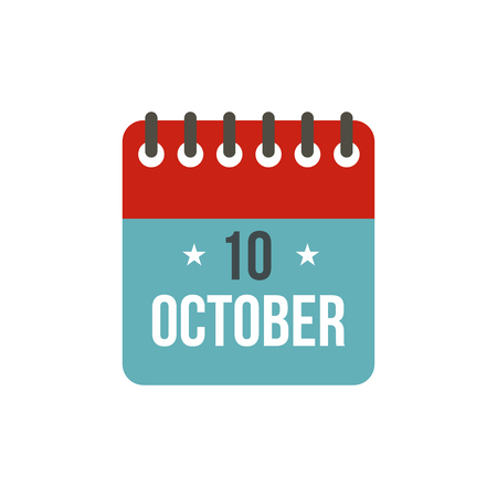 christopher: Columbus Day calendar, 10 october icon in flat style on a white background vector illustration Illustration