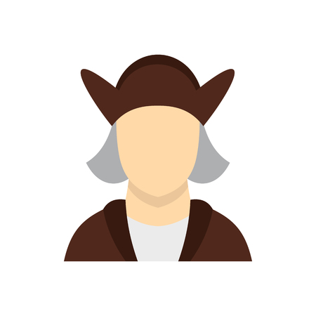 descubridor: Man wearing in Christopher Columbus costume icon in flat style on a white background vector illustration Vectores