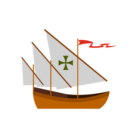 Columbus ship icon in flat style on a white background vector illustration Illustration