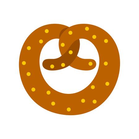 bretzel: Pretzel icon in flat style on a white background vector illustration