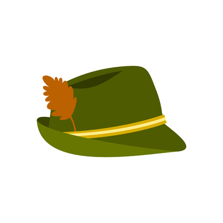 clothe: Green hat with feather icon in flat style on a white background vector illustration