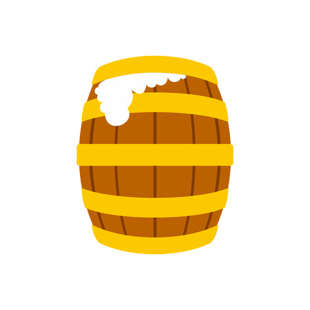 Wooden beer barrel with froth icon in flat style on a white background vector illustration Illustration