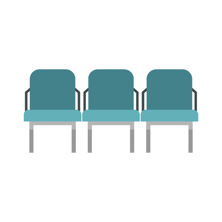 seats: Blue airport seats icon in flat style on a white background vector illustration Illustration