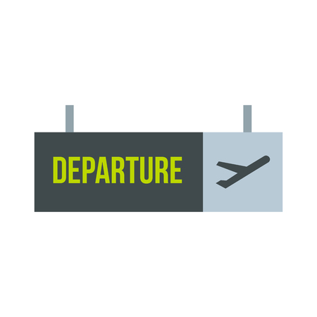 departure: Sign of departure at the airport icon in flat style on a white background vector illustration