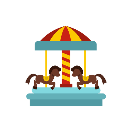 Merry go round horse ride icon in flat style on a white background vector illustration Illustration