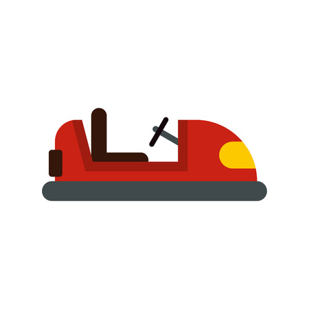 bumper: Red bumper car icon in flat style on a white background vector illustration