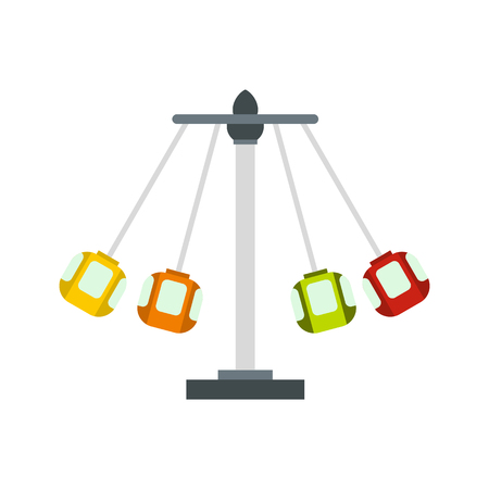 Carnival swing ride icon in flat style on a white background vector illustration