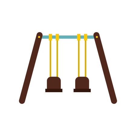 schoolyard: Playground swings icon in flat style on a white background vector illustration Illustration