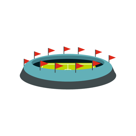 real tennis: Round stadium with flags icon in flat style on a white background vector illustration Illustration