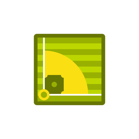 outfield: Baseball field icon in flat style on a white background vector illustration