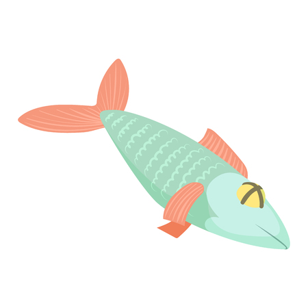 Fish icon in cartoon style isolated on white background vector illustration Illustration