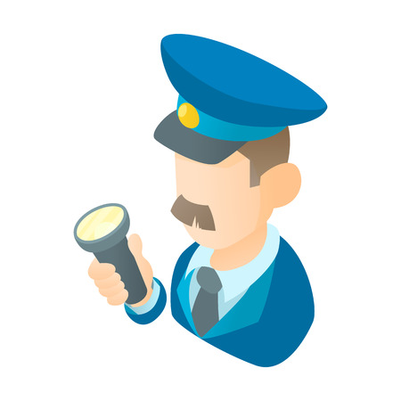 Museum security guard icon in cartoon style isolated on white background vector illustration
