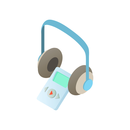 Museum audio guide with headphones icon in cartoon style isolated on white background vector illustration