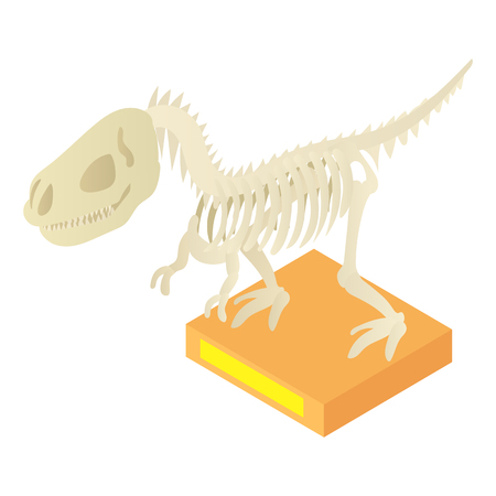 Dinosaur skeleton in archeology museum icon in cartoon style isolated on white background vector illustration Illustration