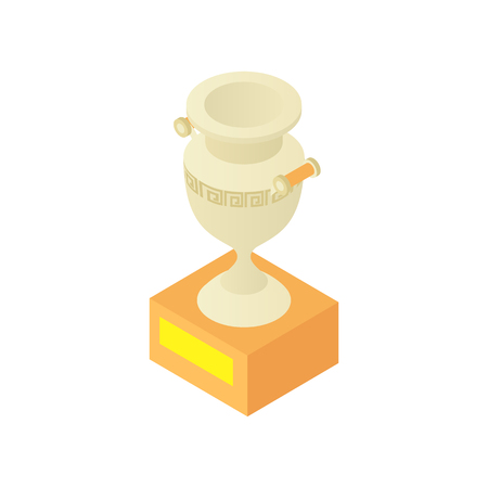 antique vase: Museum antique vase icon in cartoon style isolated on white background vector illustration