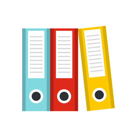 documentation: Documentation in folders icon in flat style isolated on white background. Storage symbol vector illustration Illustration