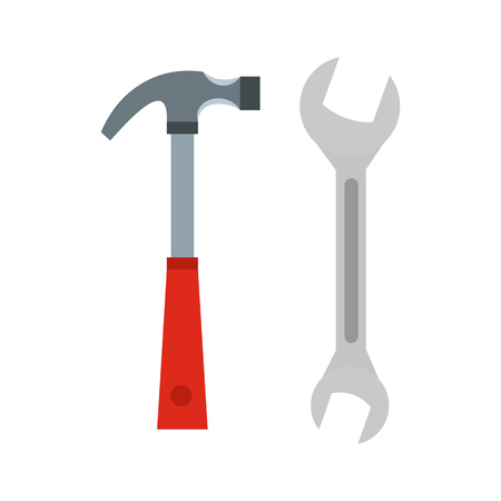 Hammer and wrench icon in flat style isolated on white background. Tools symbol vector illustration Illustration